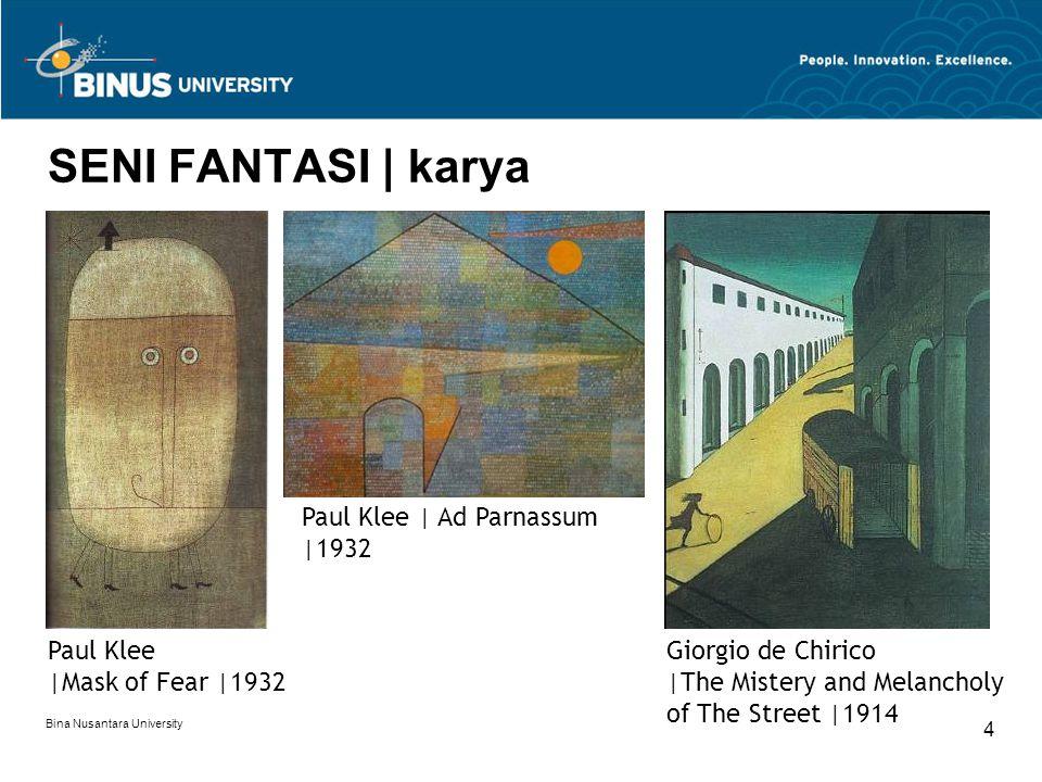 Bina Nusantara University 4 SENI FANTASI | karya Paul Klee |Mask of Fear |1932 Giorgio de Chirico |The Mistery and Melancholy of The Street |1914 Paul
