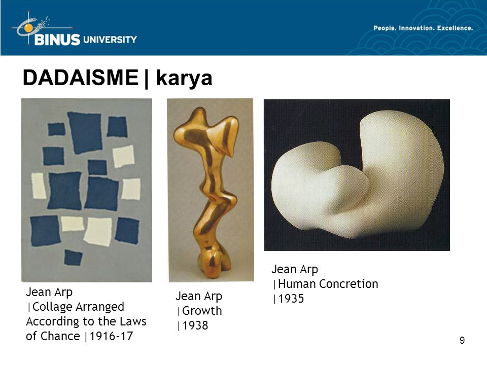 9 DADAISME | karya Jean Arp |Growth |1938 Jean Arp |Human Concretion |1935 Jean Arp |Collage Arranged According to the Laws of Chance |1916-17