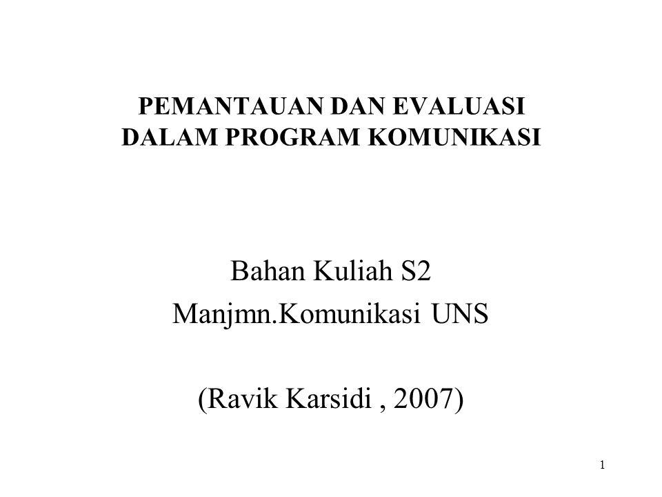 1 PEMANTAUAN DAN EVALUASI DALAM PROGRAM KOMUNIKASI Bahan Kuliah S2 Manjmn.Komunikasi UNS (Ravik Karsidi, 2007)