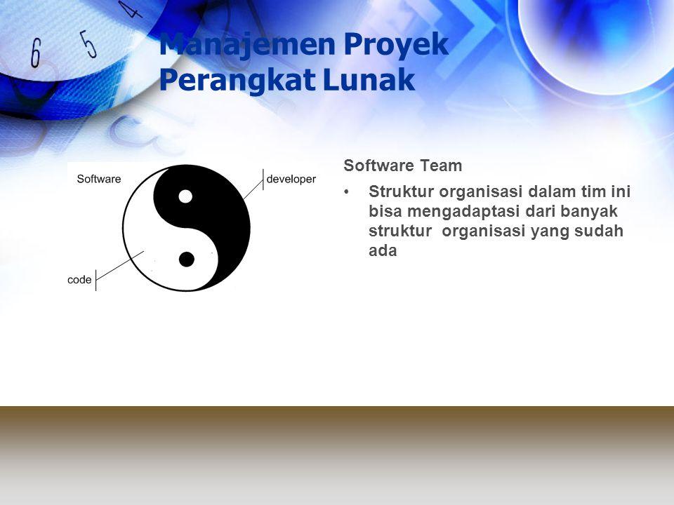 Manajemen Proyek Perangkat Lunak Software Team Struktur organisasi dalam tim ini bisa mengadaptasi dari banyak struktur organisasi yang sudah ada