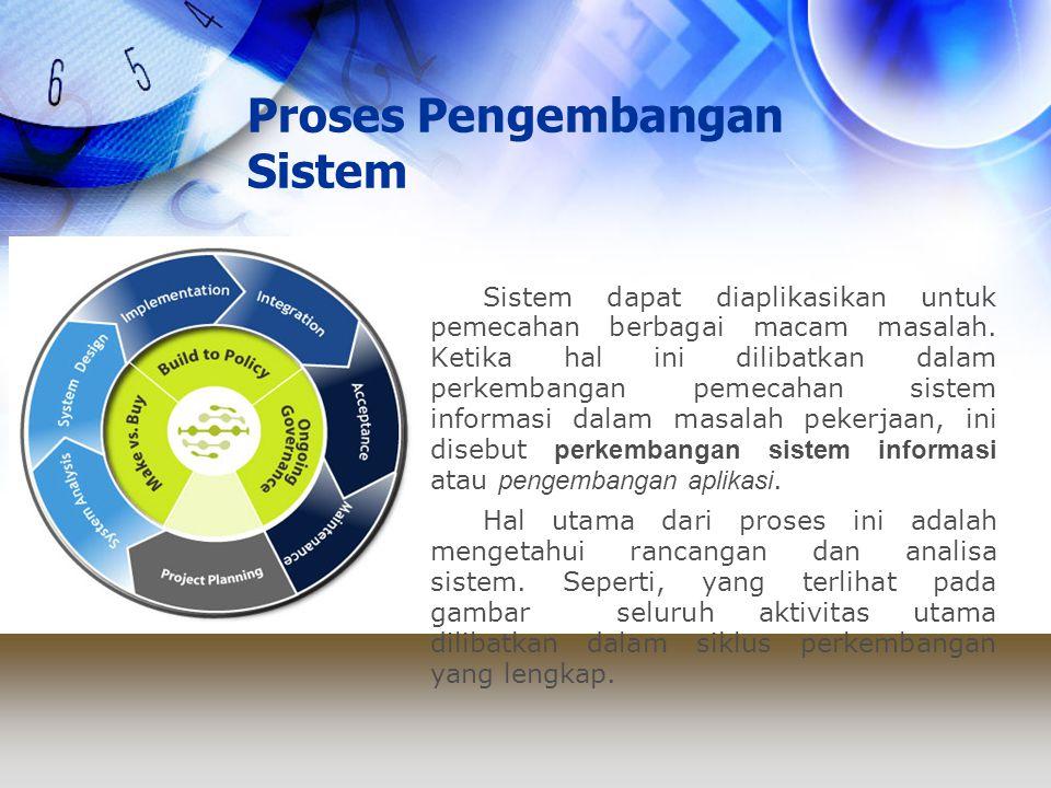 Proses Pengembangan Sistem Siklus Hidup Pengembangan Sistem dapat didefinisikan sebagai serangkaian aktivitas yang dilaksanakan oleh profesional dan pemakai sistem informasi untuk mengembangkan dan mengimplementasikan sistem informasi.
