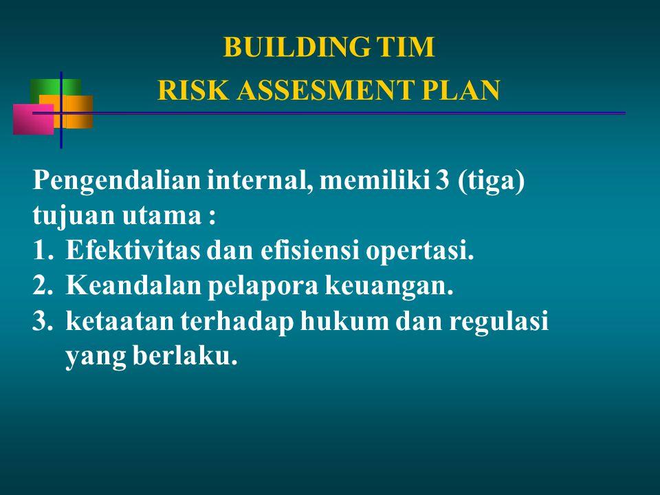 BUILDING TIM Pengendalian internal, memiliki 3 (tiga) tujuan utama : 1.Efektivitas dan efisiensi opertasi. 2.Keandalan pelapora keuangan. 3.ketaatan t