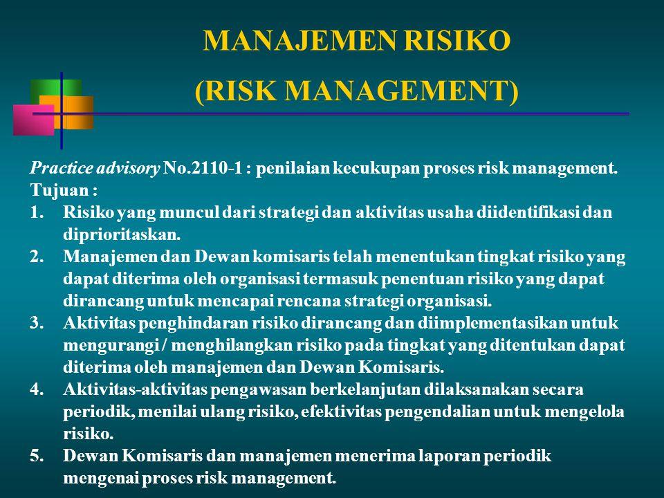 MANAJEMEN RISIKO Practice advisory No.2110-1 : penilaian kecukupan proses risk management. Tujuan : 1.Risiko yang muncul dari strategi dan aktivitas u