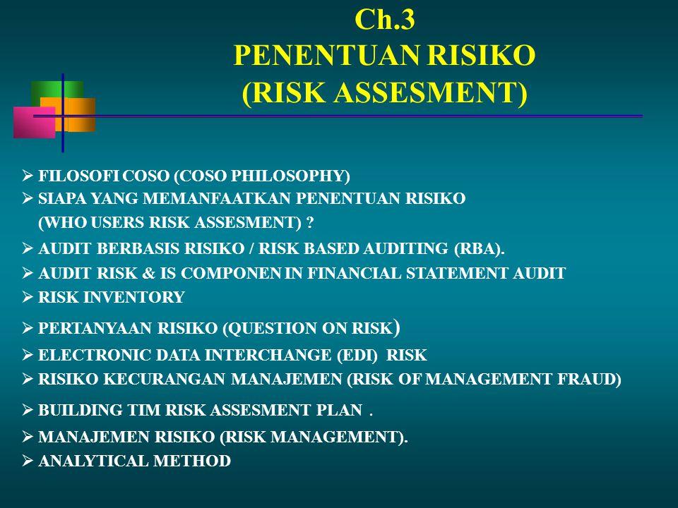 Ch.3 PENENTUAN RISIKO  FILOSOFI COSO (COSO PHILOSOPHY)  SIAPA YANG MEMANFAATKAN PENENTUAN RISIKO (WHO USERS RISK ASSESMENT) ?  AUDIT BERBASIS RISIK