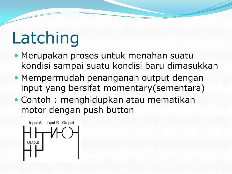 Latching Merupakan proses untuk menahan suatu kondisi sampai suatu kondisi baru dimasukkan Mempermudah penanganan output dengan input yang bersifat mo