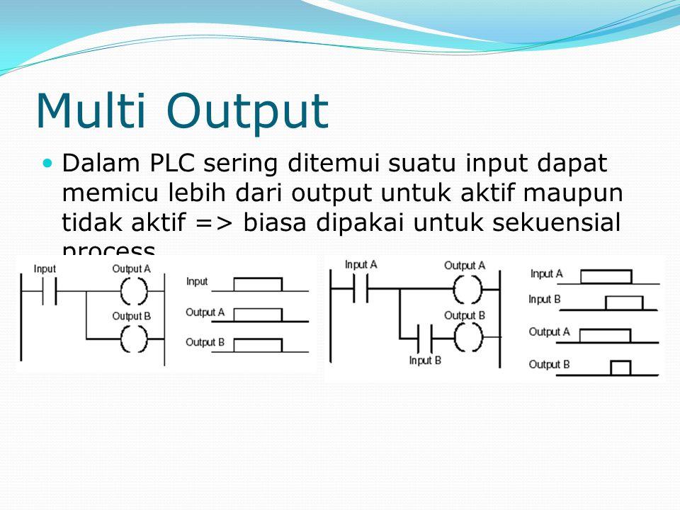 Multi Output Dalam PLC sering ditemui suatu input dapat memicu lebih dari output untuk aktif maupun tidak aktif => biasa dipakai untuk sekuensial proc