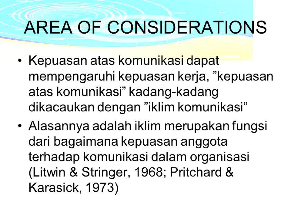 AREA OF CONSIDERATIONS Kepuasan atas komunikasi dapat mempengaruhi kepuasan kerja, kepuasan atas komunikasi kadang-kadang dikacaukan dengan iklim komunikasi Alasannya adalah iklim merupakan fungsi dari bagaimana kepuasan anggota terhadap komunikasi dalam organisasi (Litwin & Stringer, 1968; Pritchard & Karasick, 1973)