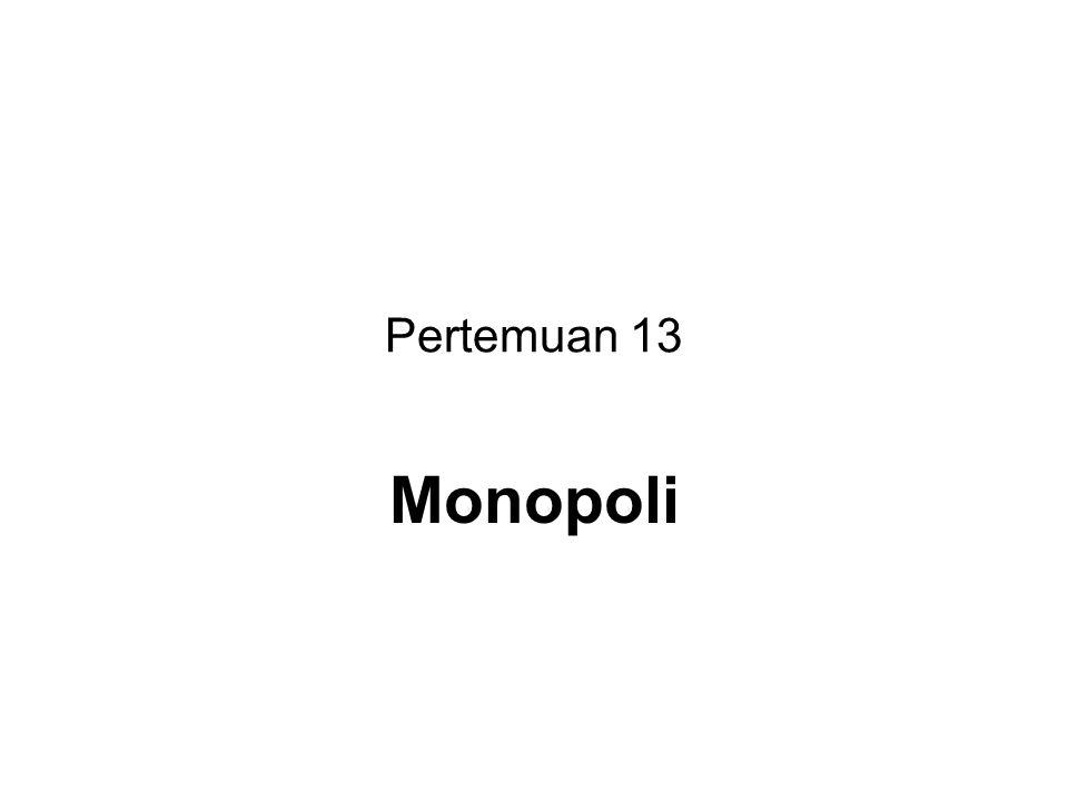 Definisi pasar monopoli Pasar monopoli adalah suatu pasar dimana hanya terdapat satu perusahaan di dalamnya dan tidak terdapat perusahaan lain yang bersaing denganya.