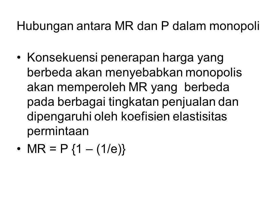 Hubungan antara MR dan P dalam monopoli Konsekuensi penerapan harga yang berbeda akan menyebabkan monopolis akan memperoleh MR yang berbeda pada berba