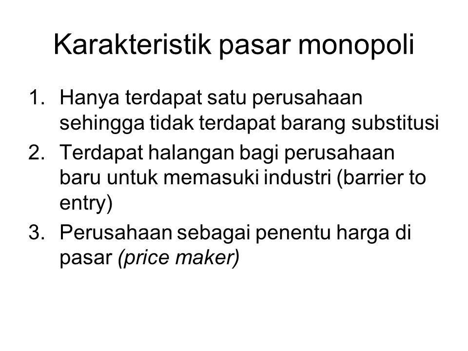 Penentuan besarnya produksi tiap pabrik Memenuhi syarat MC1 = MC2 = MR Maka pabrik 1 menghasilkan Q1 unit dan pabrik 2 menghasilkan Q2 unit.
