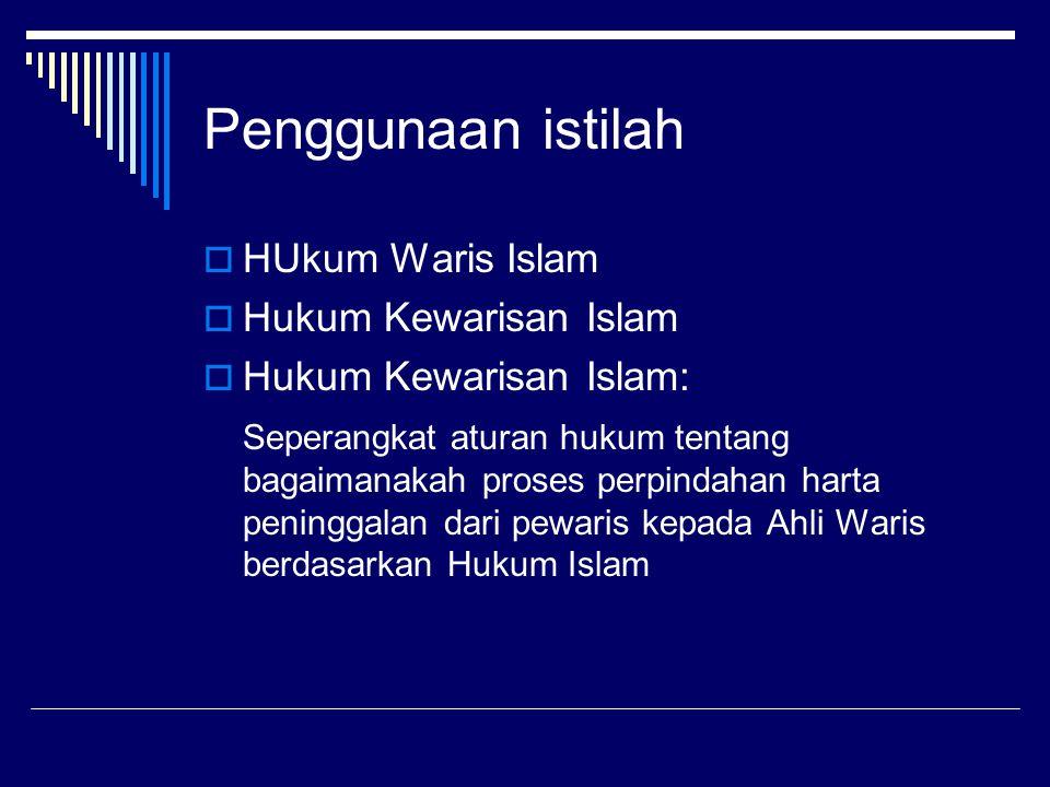 Penggunaan istilah  HUkum Waris Islam  Hukum Kewarisan Islam  Hukum Kewarisan Islam: Seperangkat aturan hukum tentang bagaimanakah proses perpindah