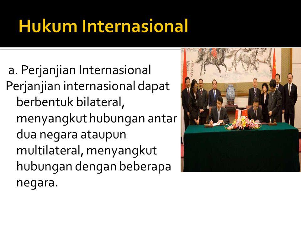 a. Perjanjian Internasional Perjanjian internasional dapat berbentuk bilateral, menyangkut hubungan antar dua negara ataupun multilateral, menyangkut