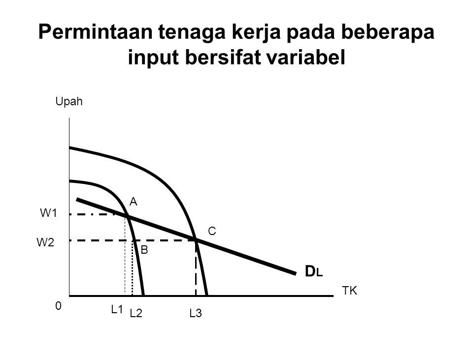 Permintaan tenaga kerja pada beberapa input bersifat variabel DLDL Upah TK W1 W2 L1 L2L3 0 A C B