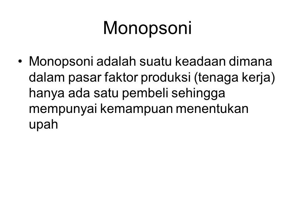Monopsoni Monopsoni adalah suatu keadaan dimana dalam pasar faktor produksi (tenaga kerja) hanya ada satu pembeli sehingga mempunyai kemampuan menentukan upah