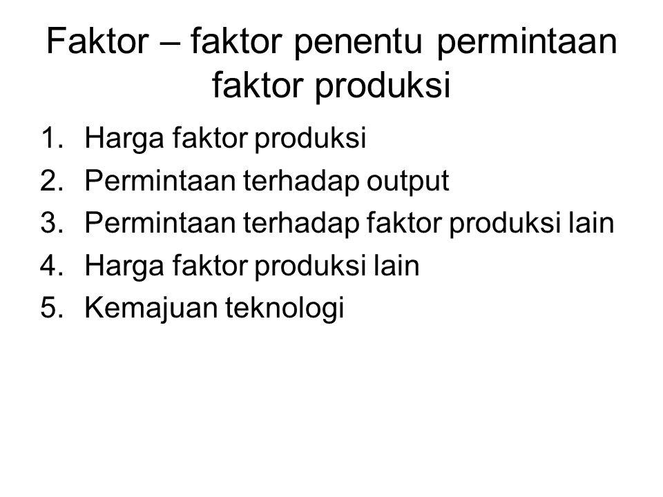 Faktor – faktor penentu permintaan faktor produksi 1.Harga faktor produksi 2.Permintaan terhadap output 3.Permintaan terhadap faktor produksi lain 4.H
