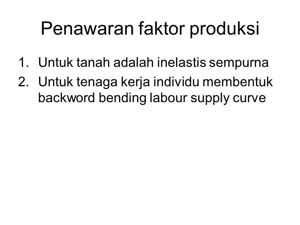 Penawaran faktor produksi 1.Untuk tanah adalah inelastis sempurna 2.Untuk tenaga kerja individu membentuk backword bending labour supply curve