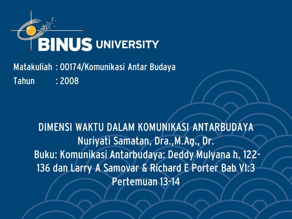 Bina Nusantara Sambungan … Pacu hidup kelompok budaya berkenan dengan bagaimana tingkat pengalaman waktu diintegrasikan oleh kumpulan individu dalam kelompok tersebut.