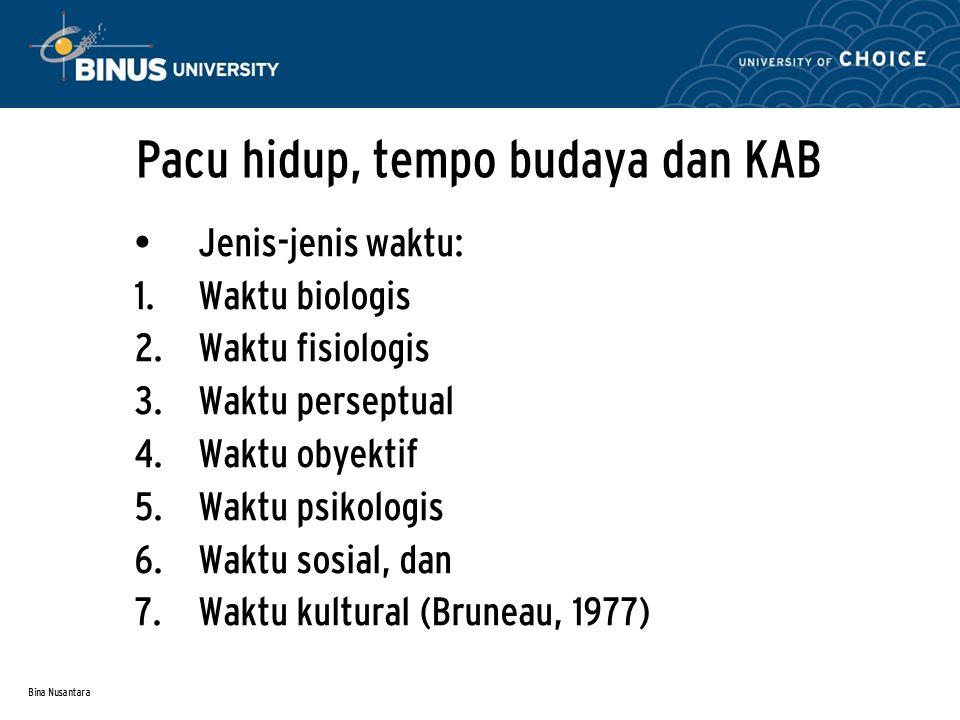 Bina Nusantara Pacu hidup, tempo budaya dan KAB Jenis-jenis waktu:  Waktu biologis  Waktu fisiologis  Waktu perseptual  Waktu obyektif  Waktu psikologis  Waktu sosial, dan  Waktu kultural (Bruneau, 1977)