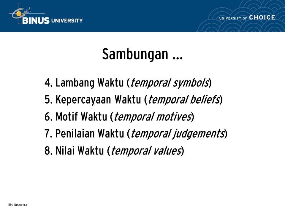 Bina Nusantara Sambungan … 4.Lambang Waktu (temporal symbols) 5.