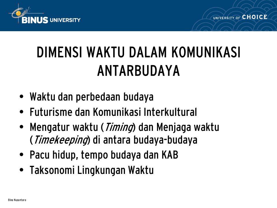 Bina Nusantara DIMENSI WAKTU DALAM KOMUNIKASI ANTARBUDAYA Waktu dan perbedaan budaya Futurisme dan Komunikasi Interkultural Mengatur waktu (Timing) da
