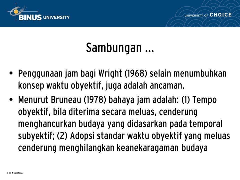 Bina Nusantara Sambungan … Penggunaan jam bagi Wright (1968) selain menumbuhkan konsep waktu obyektif, juga adalah ancaman. Menurut Bruneau (1978) bah