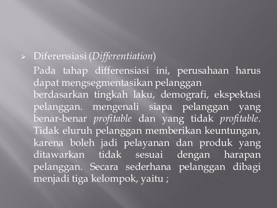  Diferensiasi ( Differentiation ) Pada tahap differensiasi ini, perusahaan harus dapat mengsegmentasikan pelanggan berdasarkan tingkah laku, demograf