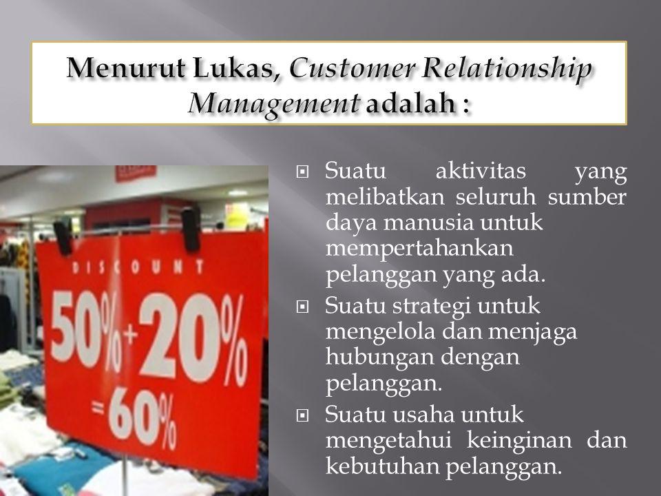 Suatu aktivitas yang melibatkan seluruh sumber daya manusia untuk mempertahankan pelanggan yang ada.  Suatu strategi untuk mengelola dan menjaga hu