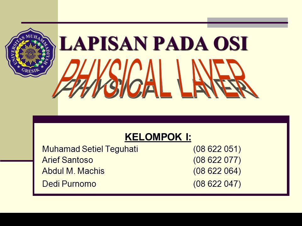 LAPISAN PADA OSI KELOMPOK I: Muhamad Setiel Teguhati (08 622 051) Arief Santoso (08 622 077) Abdul M.