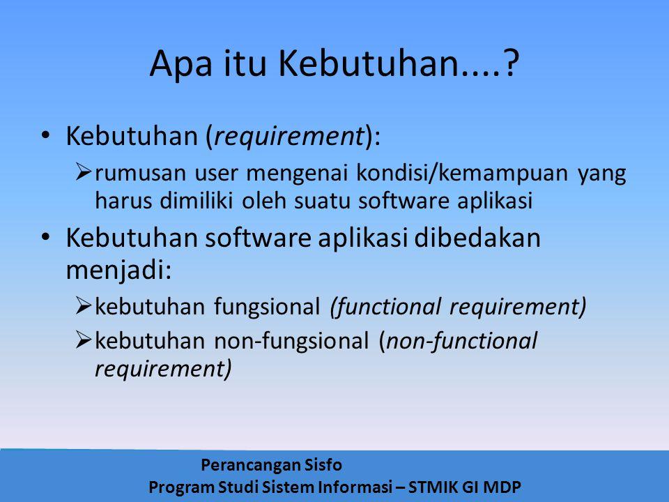 Perancangan Sisfo Program Studi Sistem Informasi – STMIK GI MDP Apa itu Kebutuhan....? Kebutuhan (requirement):  rumusan user mengenai kondisi/kemamp