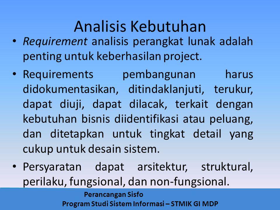 Perancangan Sisfo Program Studi Sistem Informasi – STMIK GI MDP Analisis Kebutuhan Requirement analisis perangkat lunak adalah penting untuk keberhasi