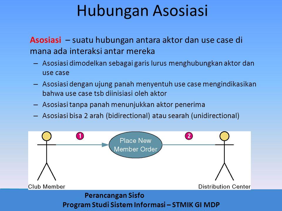 Perancangan Sisfo Program Studi Sistem Informasi – STMIK GI MDP Hubungan Asosiasi Asosiasi – suatu hubungan antara aktor dan use case di mana ada inte