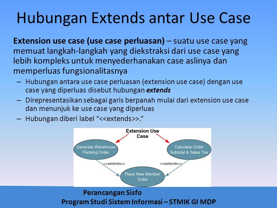 Perancangan Sisfo Program Studi Sistem Informasi – STMIK GI MDP Hubungan Extends antar Use Case Extension use case (use case perluasan) – suatu use ca