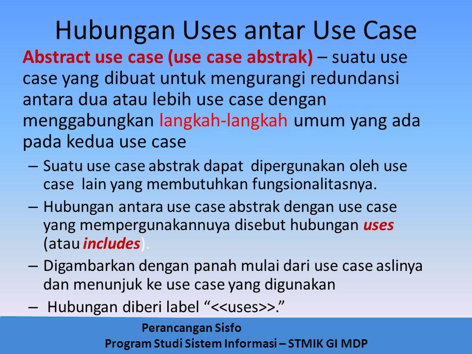 Perancangan Sisfo Program Studi Sistem Informasi – STMIK GI MDP Hubungan Uses antar Use Case Abstract use case (use case abstrak) – suatu use case yan