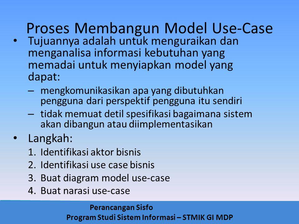 Perancangan Sisfo Program Studi Sistem Informasi – STMIK GI MDP Proses Membangun Model Use-Case Tujuannya adalah untuk menguraikan dan menganalisa inf