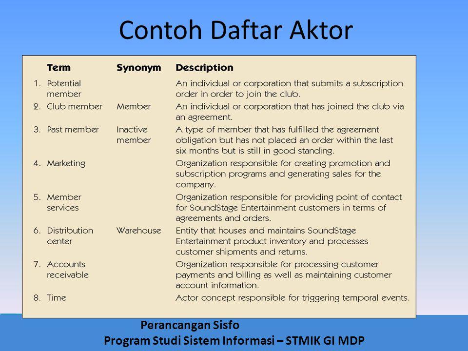 Perancangan Sisfo Program Studi Sistem Informasi – STMIK GI MDP Contoh Daftar Aktor