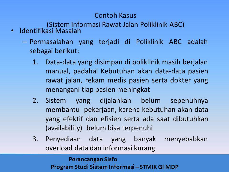 Perancangan Sisfo Program Studi Sistem Informasi – STMIK GI MDP Contoh Kasus (Sistem Informasi Rawat Jalan Poliklinik ABC) Identifikasi Masalah – Perm