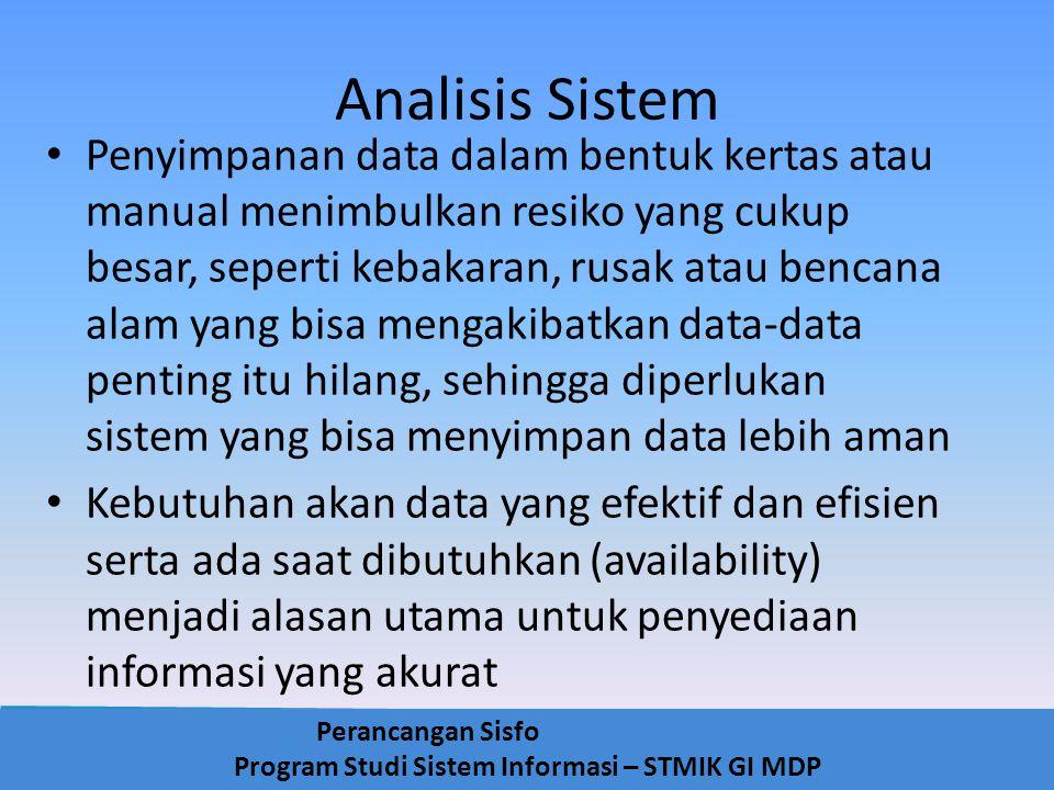 Perancangan Sisfo Program Studi Sistem Informasi – STMIK GI MDP Analisis Sistem Penyimpanan data dalam bentuk kertas atau manual menimbulkan resiko ya