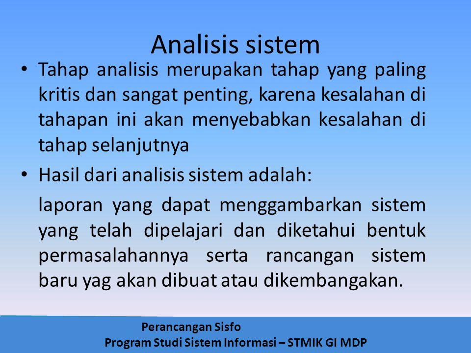 Perancangan Sisfo Program Studi Sistem Informasi – STMIK GI MDP Analisis sistem Tahap analisis merupakan tahap yang paling kritis dan sangat penting,