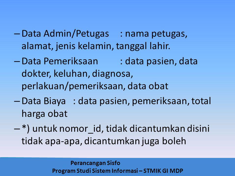 Perancangan Sisfo Program Studi Sistem Informasi – STMIK GI MDP – Data Admin/Petugas: nama petugas, alamat, jenis kelamin, tanggal lahir. – Data Pemer