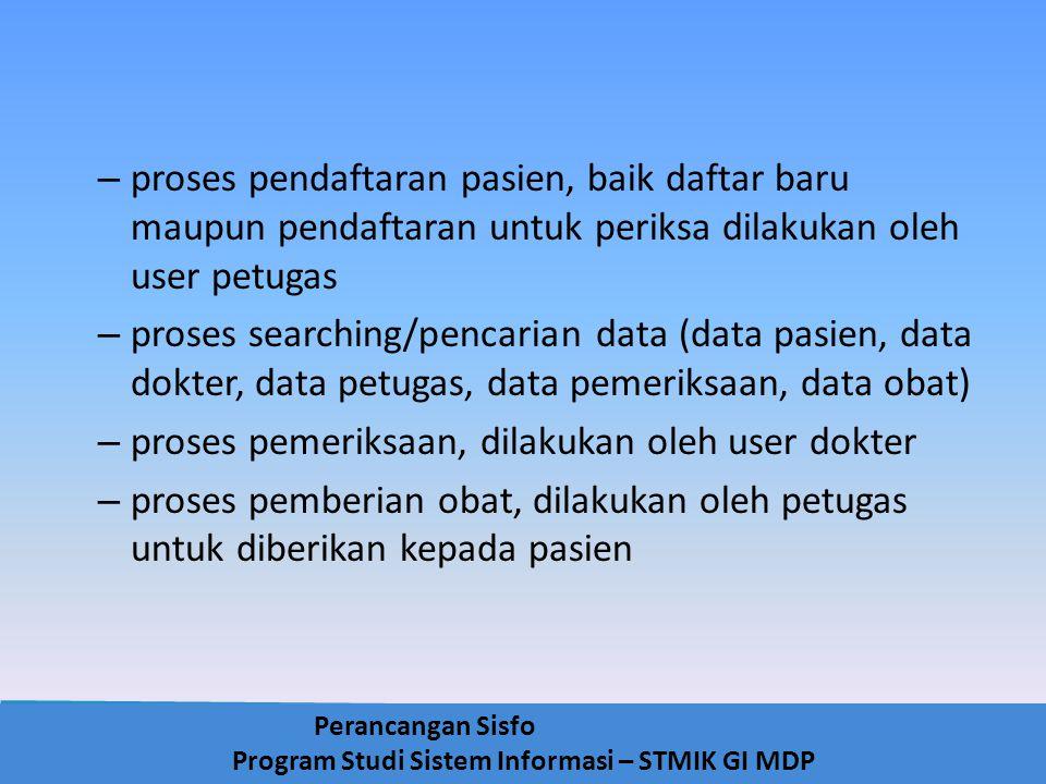 Perancangan Sisfo Program Studi Sistem Informasi – STMIK GI MDP – proses pendaftaran pasien, baik daftar baru maupun pendaftaran untuk periksa dilakuk