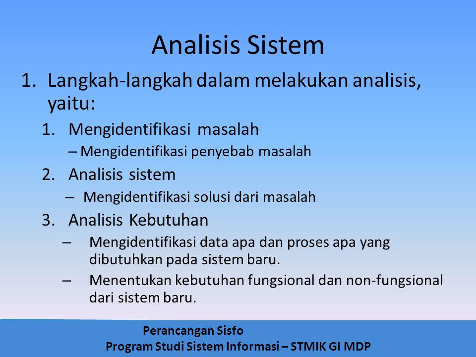 Perancangan Sisfo Program Studi Sistem Informasi – STMIK GI MDP Analisis Sistem 1.Langkah-langkah dalam melakukan analisis, yaitu: 1.Mengidentifikasi