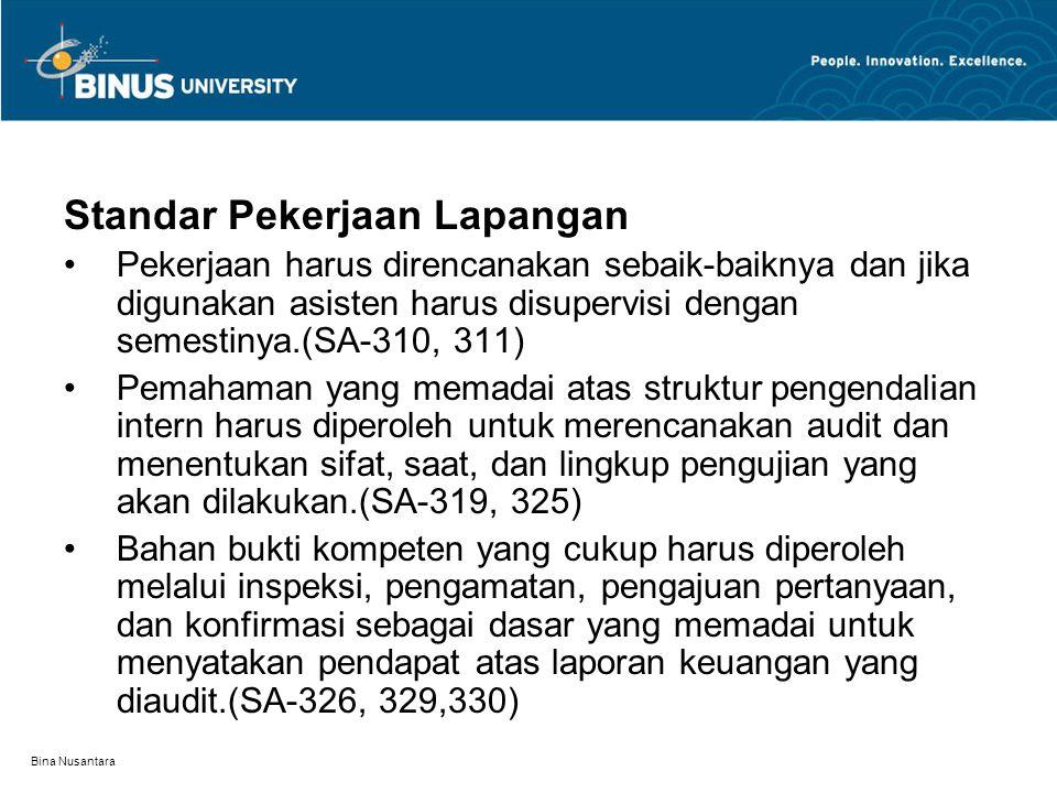 Bina Nusantara Standar Pekerjaan Lapangan Pekerjaan harus direncanakan sebaik-baiknya dan jika digunakan asisten harus disupervisi dengan semestinya.(