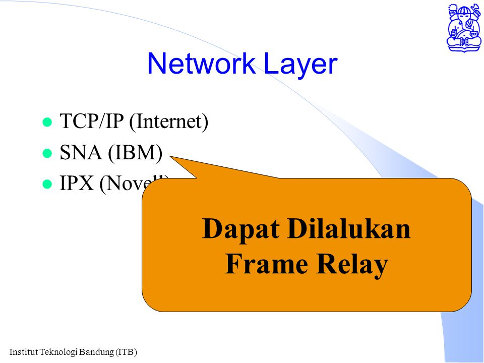 Institut Teknologi Bandung (ITB) Network Layer l TCP/IP (Internet) l SNA (IBM) l IPX (Novell) Dapat Dilalukan Frame Relay