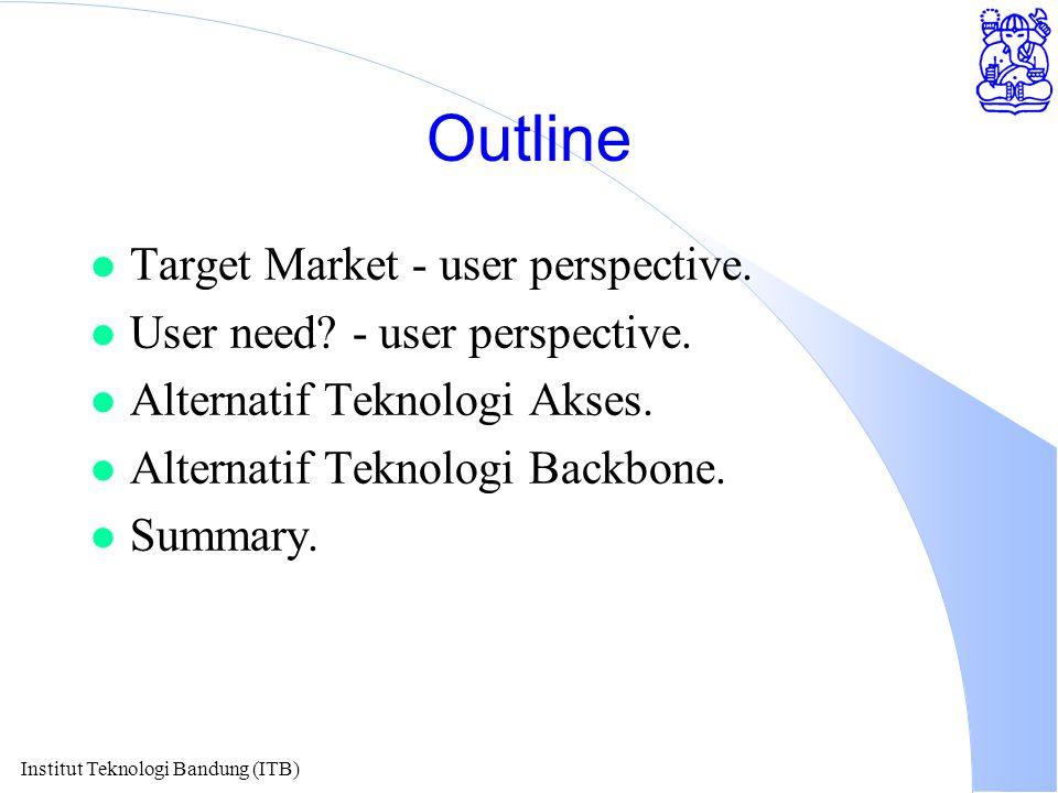 Institut Teknologi Bandung (ITB) Outline l Target Market - user perspective.