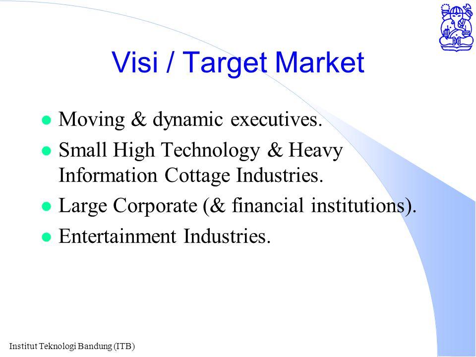 Institut Teknologi Bandung (ITB) Visi / Target Market l Moving & dynamic executives.
