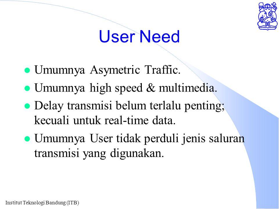 Institut Teknologi Bandung (ITB) User Need l Umumnya Asymetric Traffic. l Umumnya high speed & multimedia. l Delay transmisi belum terlalu penting; ke