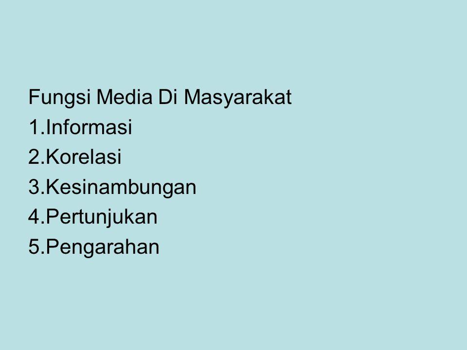 Fungsi Media Di Masyarakat 1.Informasi 2.Korelasi 3.Kesinambungan 4.Pertunjukan 5.Pengarahan