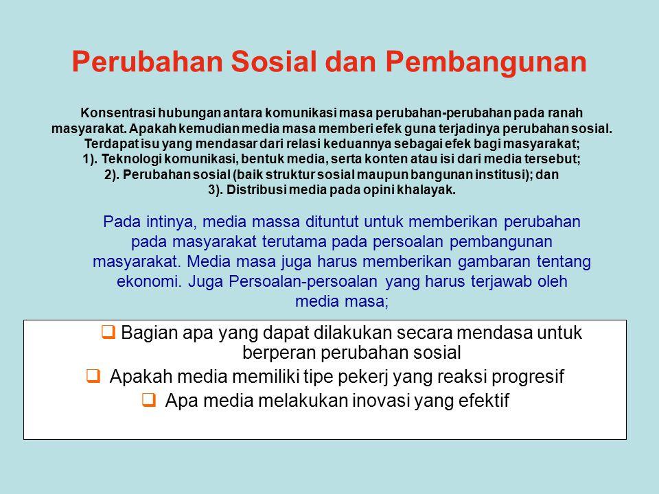 Pada intinya, media massa dituntut untuk memberikan perubahan pada masyarakat terutama pada persoalan pembangunan masyarakat.