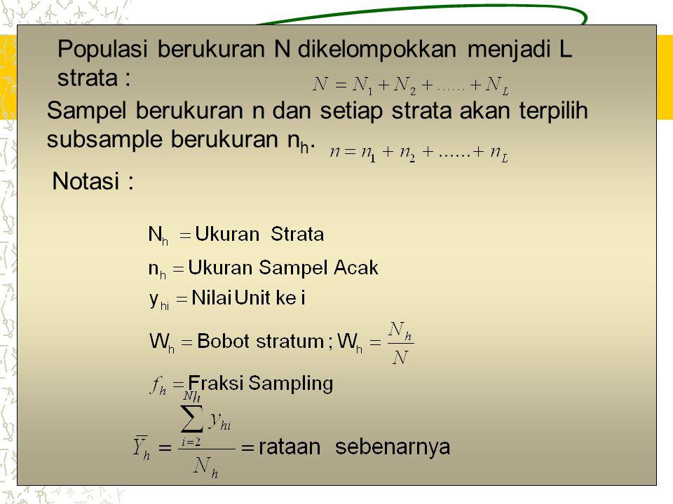 2 Populasi berukuran N dikelompokkan menjadi L strata : Sampel berukuran n dan setiap strata akan terpilih subsample berukuran n h.