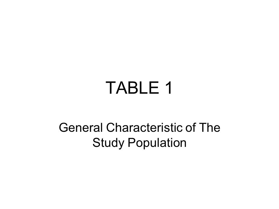 TABLE 1 General Characteristic of The Study Population